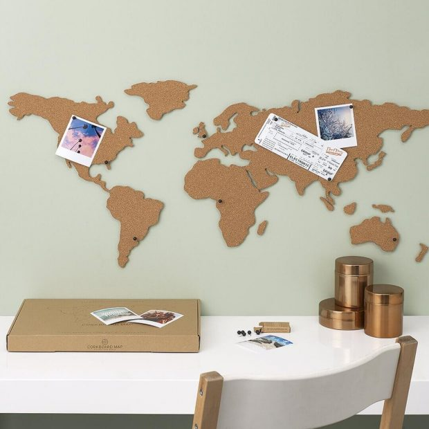Corkboard map self adhesive map of the world pin around the world gumiabroncs Gallery