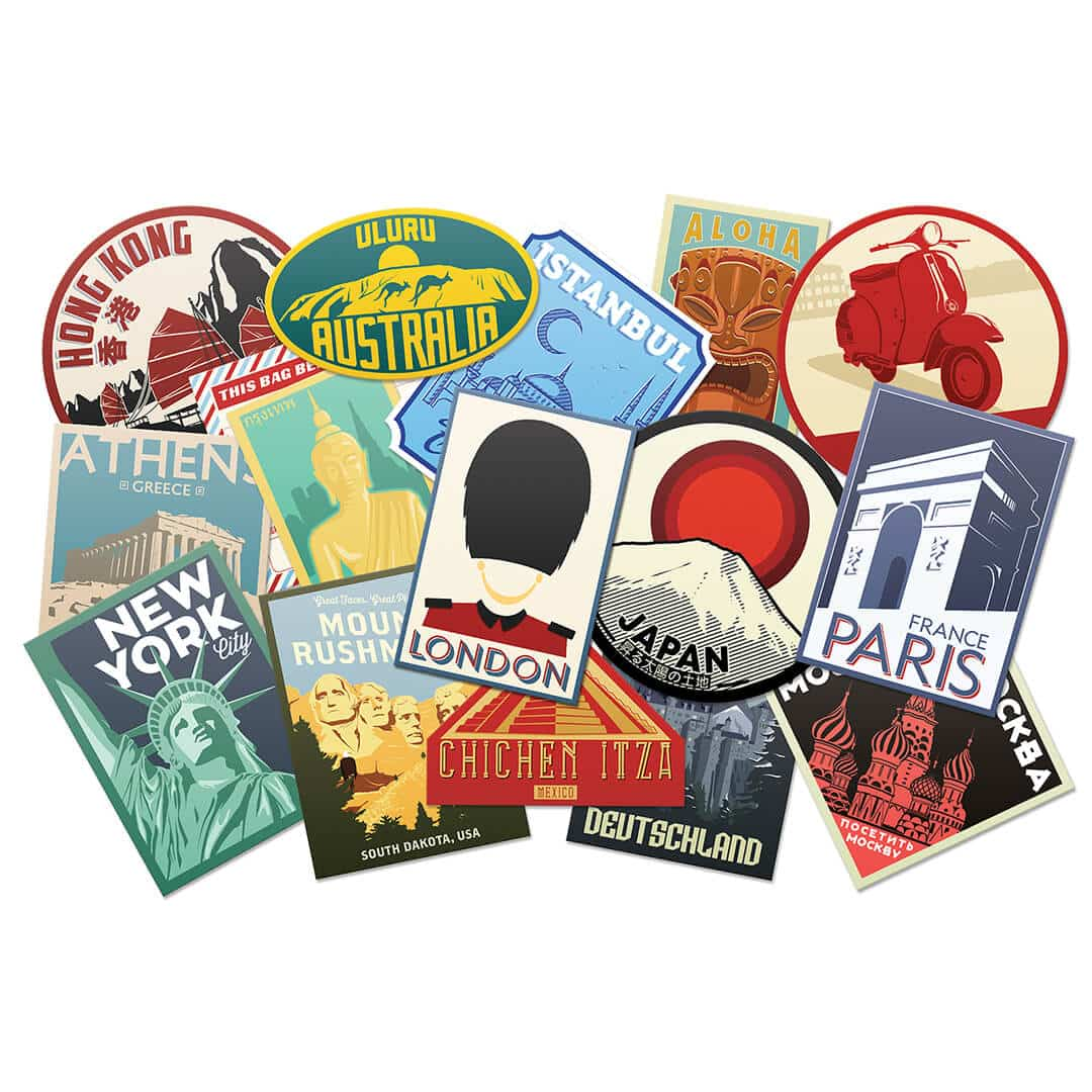 Luggage Label Stickers, vintage style luggage tags