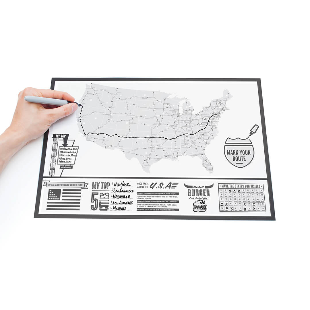 Scratch Map  USA Travel Poster - Poster map of usa