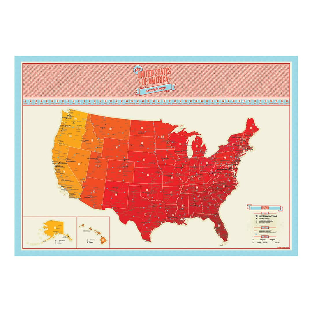 USA Scratch Map Interactive Travel Chart UncommonGoods Scratch - Map us midwest states