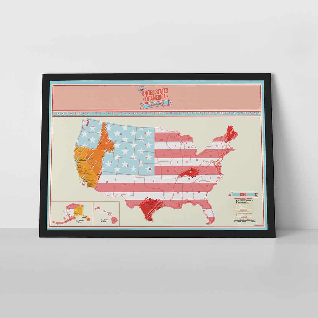 Scratch Map USA Travel poster – Luckies Of London Scratch Map Travel Edition