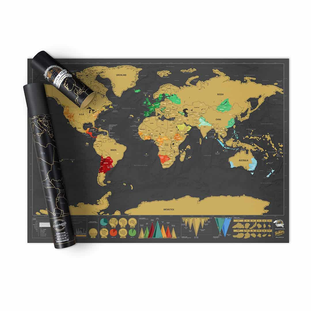 Scratch Map Deluxe World Map Poster – Luckies Travel Scratch Map