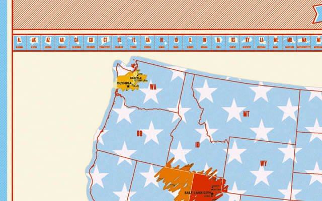 Seattle non the Scratch Map USA