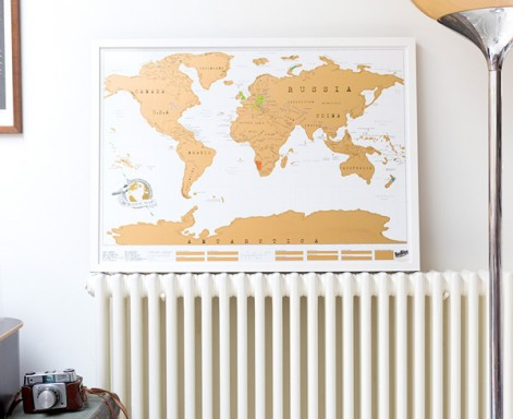 Framed Scratch Map Original map