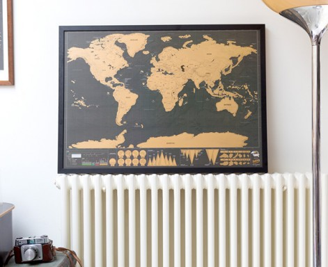 Scratch Map Deluxe Framed by Luckies