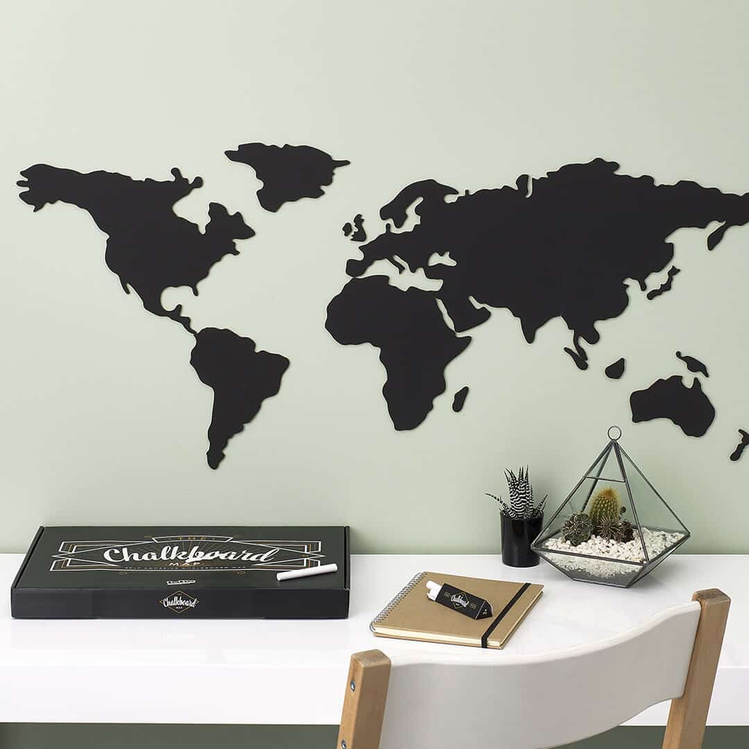 Self Adhesive Wall Decoration Sticker Chalkboard Map Of The World Luckies Of London