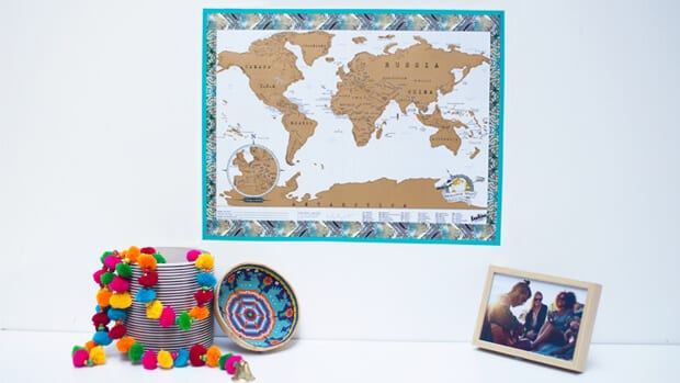 Scratch Map Travel Framed with Washi Tape