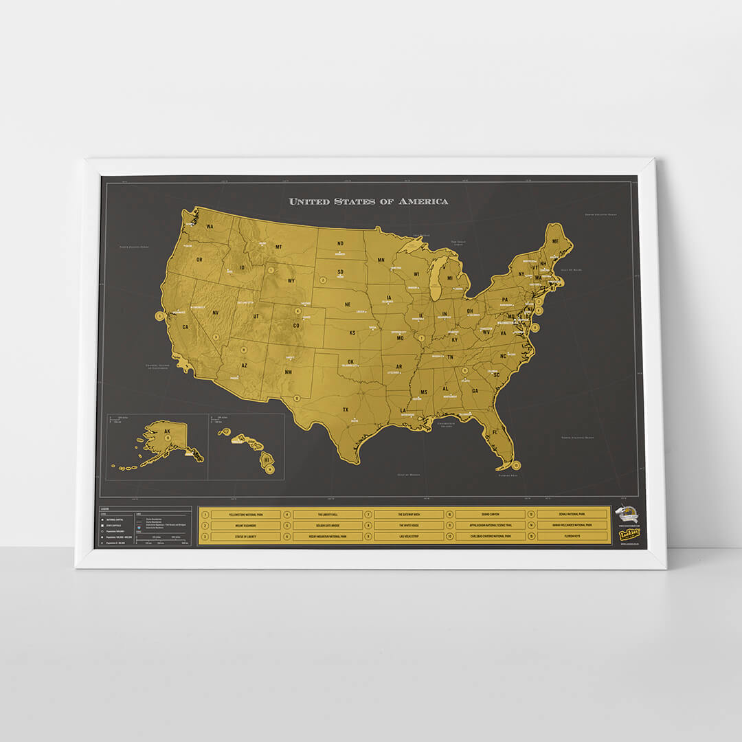 Scratch Map USA Deluxe Luckies - Scratch us map